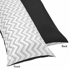Zig Zag Chevron, Black White and Gray Full Length Body Pillow Cover