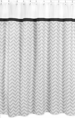 Zig Zag Chevron Black, White and Gray Shower Curtain