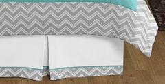 Zig Zag Chevron Turquoise and Gray Queen Bed Skirt