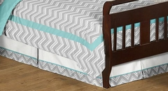 Zig Zag Chevron Turquoise and Gray Toddler Bed Skirt