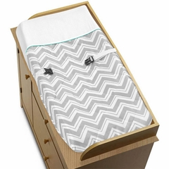 Zig Zag Chevron Turquoise & Gray Changing Pad Cover Sweet Jojo Designs