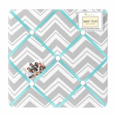 Zig Zag Chevron Turquoise, White and Gray Fabric Memo Board