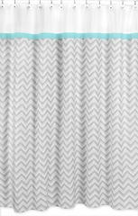 Zig Zag Chevron Turquoise, White and Gray Shower Curtain