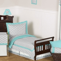Zig Zag Chevron Turquoise, White and Gray Toddler Bedding Set