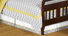 Zig Zag Chevron Yellow and Gray Toddler Bed Skirt Sweet Jojo Designs