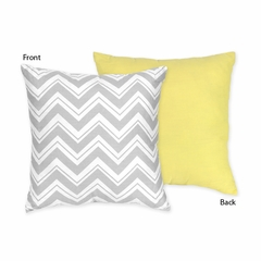 Zig Zag Chevron Yellow, White and Gray Decorative Accent Throw Pillow