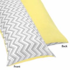 Zig Zag Chevron, Yellow White and Gray Full Length Body Pillow Cover