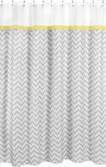 Zig Zag Chevron Yellow, White and Gray Shower Curtain