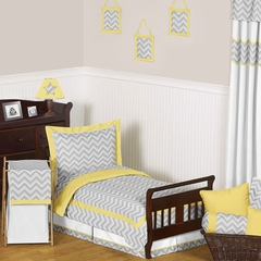 Zig Zag Chevron Yellow, White and Gray Toddler Bedding Set