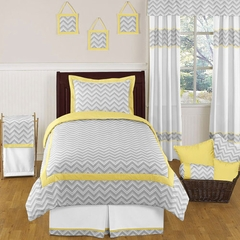 Zig Zag Chevron Yellow, White and Gray Twin Kids Bedding Set
