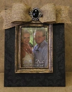 "4"" x 6"" Photo Frame Printed Black Damask"