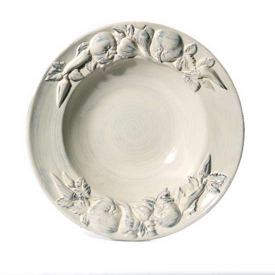 "(A) Baroque Large Salad Bowl w/Fruits Cream 17.5""D"
