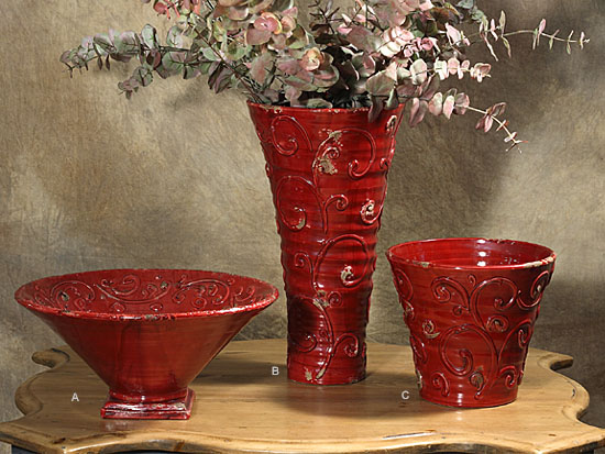 "(A) Large Footed Bowl Red 6.5""H x 14""D"