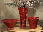 """(A) Large Footed Bowl Red 6.5""""H x 14""""D"""