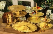 """(A) Small Footed Cake Plate Honey 11""""D"""