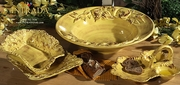 """(A) Square Footed Bowl Honey 10""""W"""