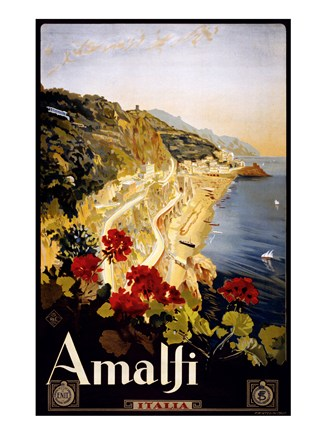 Amalfi, travel poster Art Print