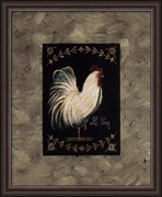 Tuscan & Provence Rooster and Chicken Framed Art Print