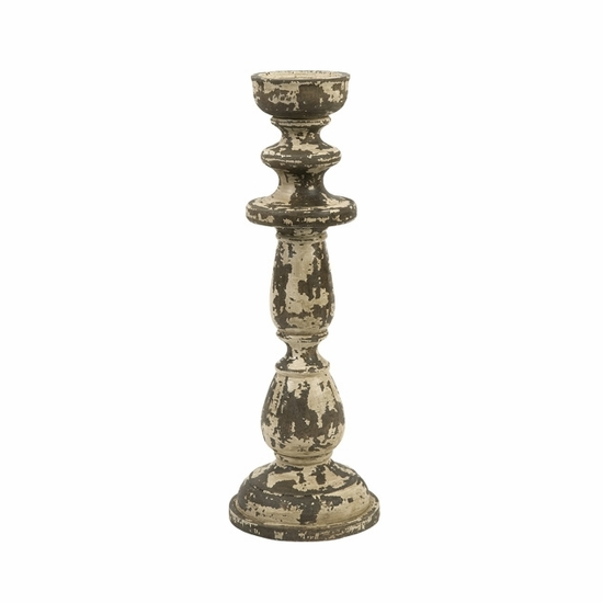 Armida Small Carved Wood Candleholder