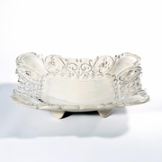 Baroque Cream Square Footed Shallow Bowl