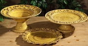 """(C) Baroque Yellow Footed Platter 15.75""""D x 5""""H"""