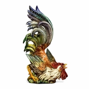 Colored Rooster Looking Up- Italian Ceramic