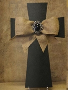 "Cross 12"" Printed Black Damask Wood w/ Burlap Bow"