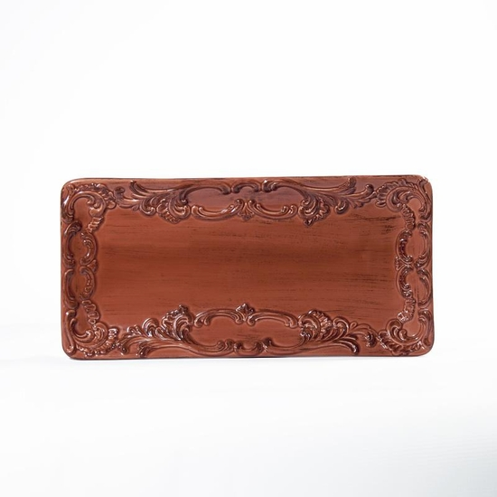 """(D) Baroque Paprika Rectangle Plate Small 12"""" x 6"""" Set of 4"""