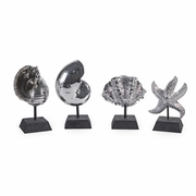 Decorative Silver Shells - Set of 4