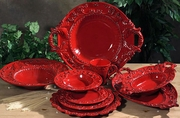 (H) Baroque Red Oval Tray w/2 Handles