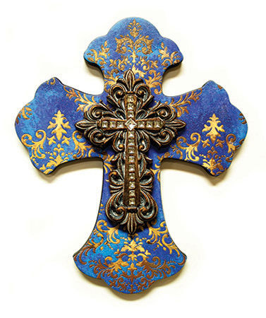 "LAYERED WALL CROSS BLUE & GOLD DAMASK/8"" MDF"