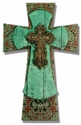 """LAYERED WALL CROSS BROWN DAMASK WITH TURQUOISE WOOD/12"""" MDF"""
