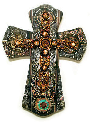 "LAYERED WALL CROSS BROWN ETHNIC W/ BEADS/18"" MDF"