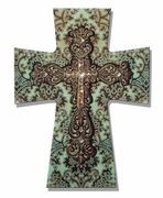 """LAYERED WALL CROSS TURQUOISE/BROWN DAMASK W/ BROWN RESIN/10"""" MDF"""