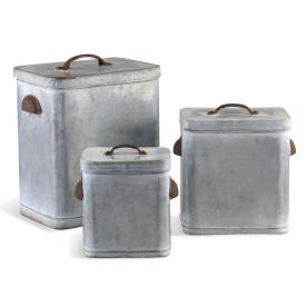 Lidded Galvanized Canisters Set of 3