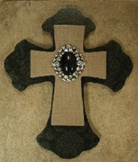 "Black Damask Printed Layered Wood Cross 8"" Tall"