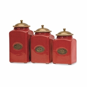 Red Ceramic Kitchen Canisters - Set of 3