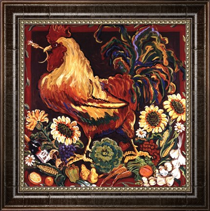 Rooster Harvest by Suzanne Etienne-Framed Canvas Print