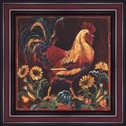 Rooster Rustic by Suzanne Etienne-Framed Art Print