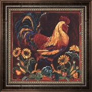 Rooster Rustic by Suzanne Etienne-Framed Canvas Print