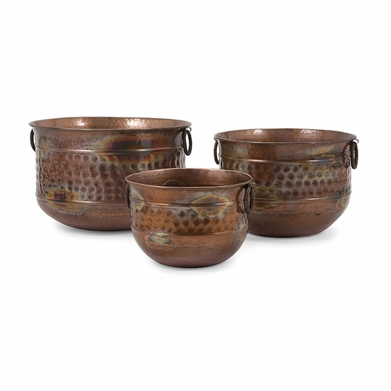 Sascha Burnished Copper Plated Planters - Set of 3