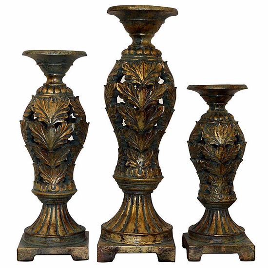 Silhouette Leaf Candleholders - Set of 3