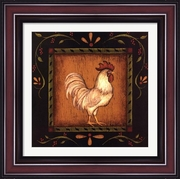 Square Rooster Right by Kim Lewis-Framed Art Print