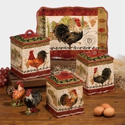 Tuscan Rooster Kitchen Canister Set of 3