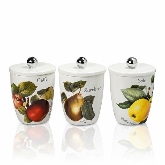 Vivere Fruit Set of 3 Square Canisters