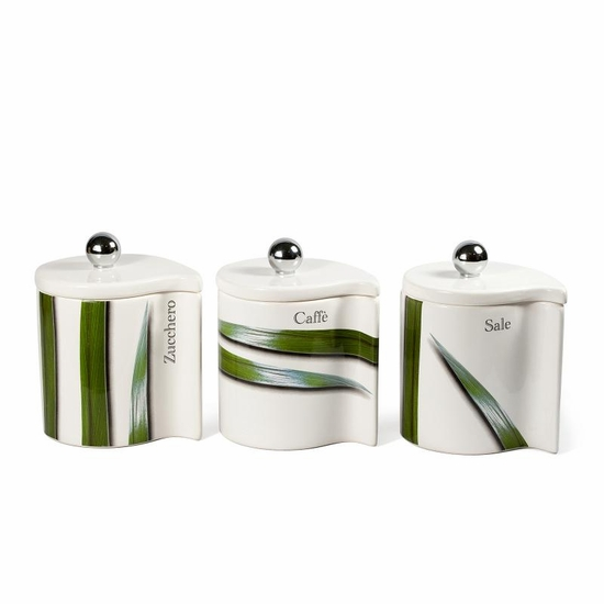 Vivere Full Green Set of 3 Canisters