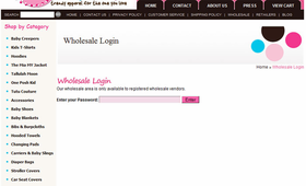 Password-protected Wholesale Area for Aabaco/Yahoo Stores - Click to enlarge