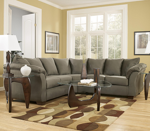 Ashley 55 56 Darcy Sage Contemporary Sectional Sofa