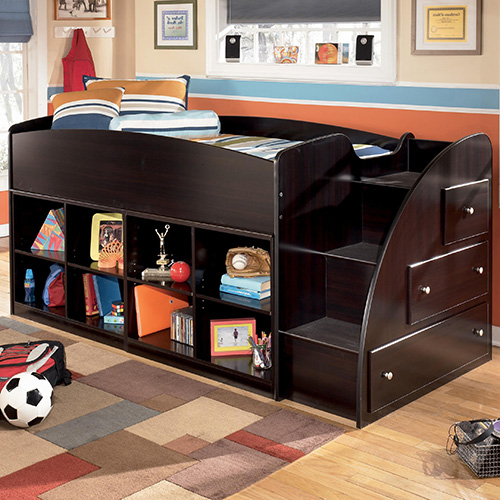 ... 13R-17-17 Embrace Twin Loft Bed with Right Storage Steps and Bookcase