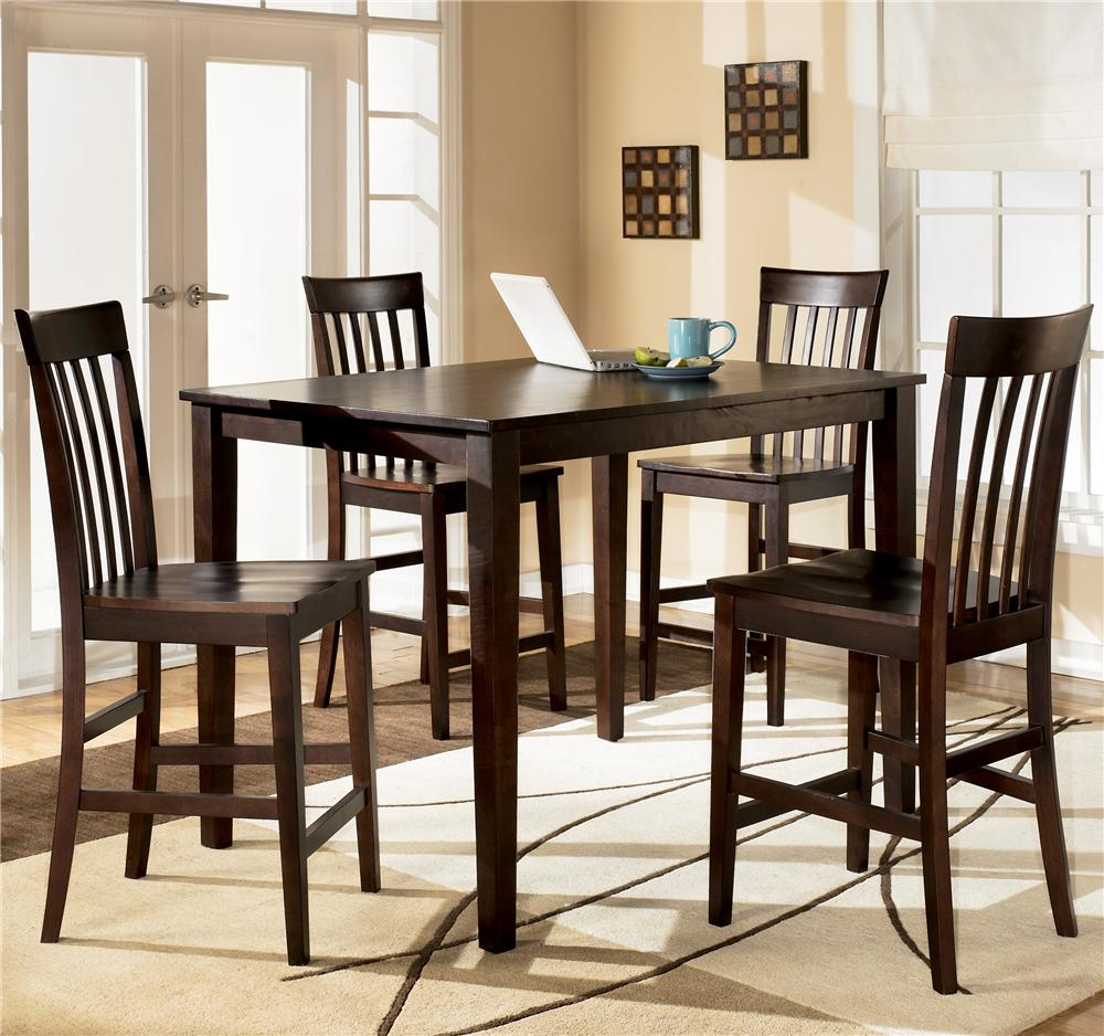 Ashley D258 223 Hyland Rectangular Dining Room Counter Table Set 5 CN